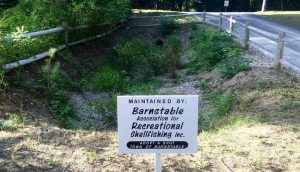 Cordwood Landing Drainage with BARS sign