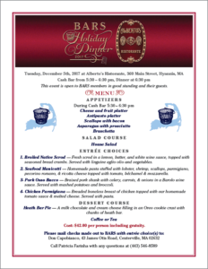 2017 BARS Annual Holiday Dinner menu and info