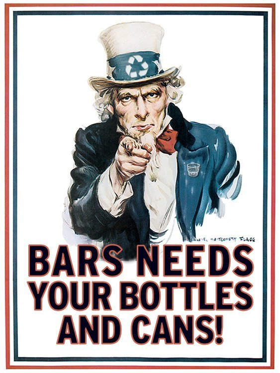 BARS Needs Your Bottles and Cans!