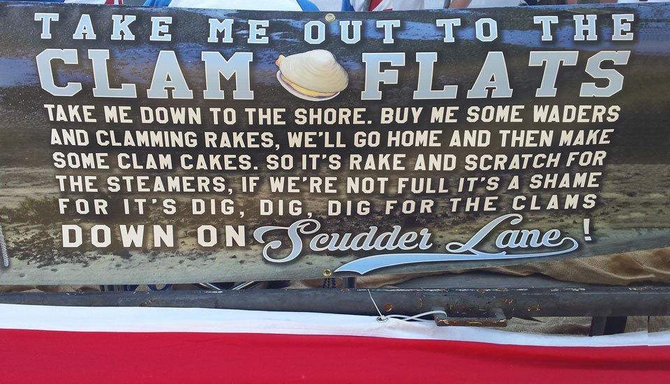 Take me out to the clam flats banner