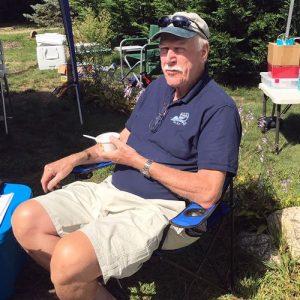 Bill Shumway taking a chowder break at Marstons Mills Village Day