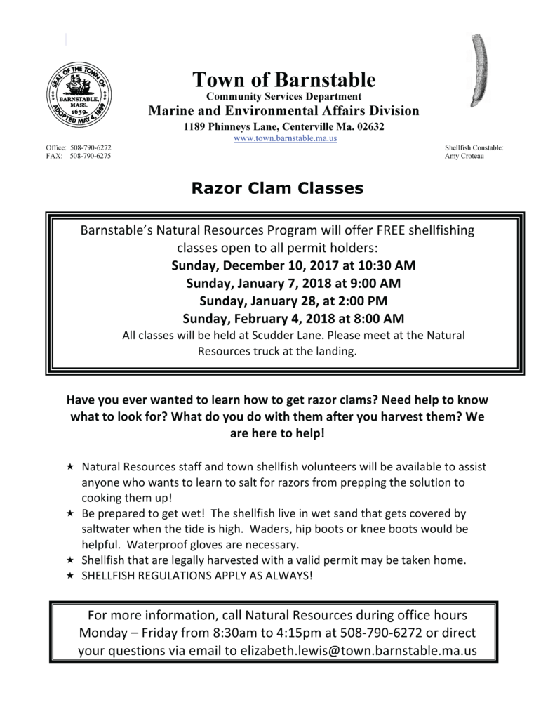 Free Razor Clam Classes offered by Barnstable Natural Resources