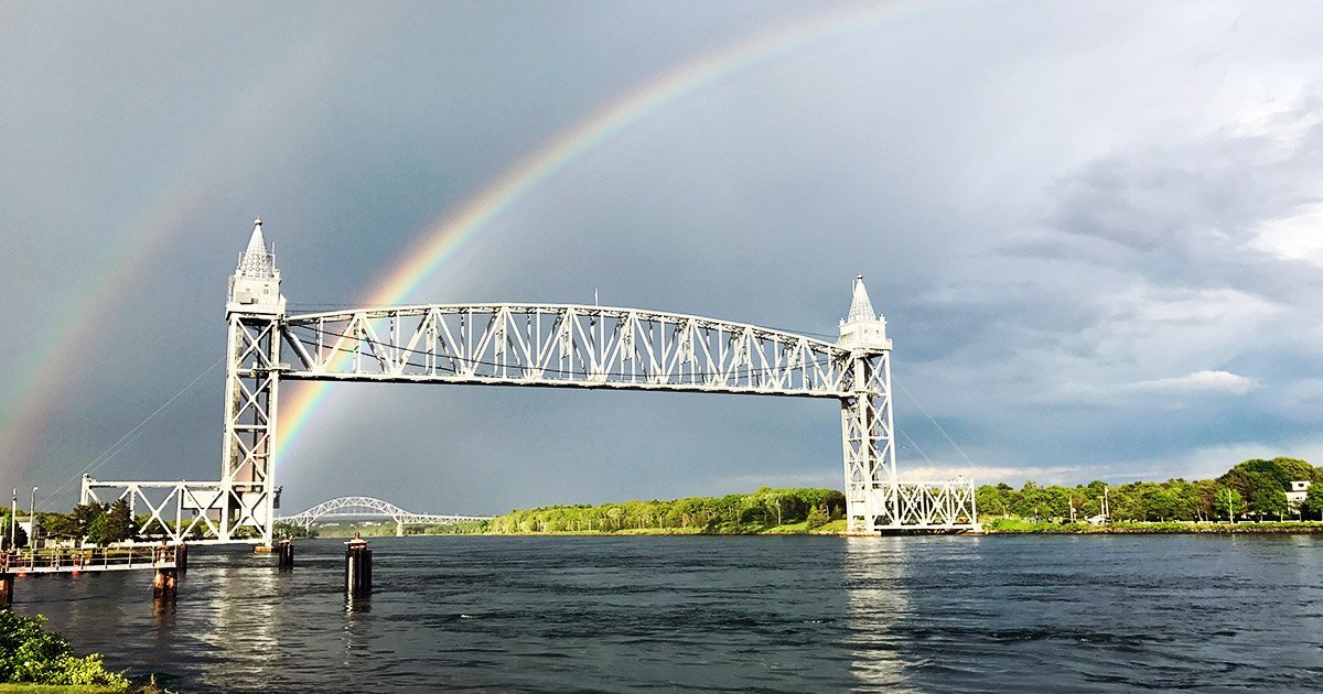 Rainbow over Cape Cod Canal Railroad Bridge