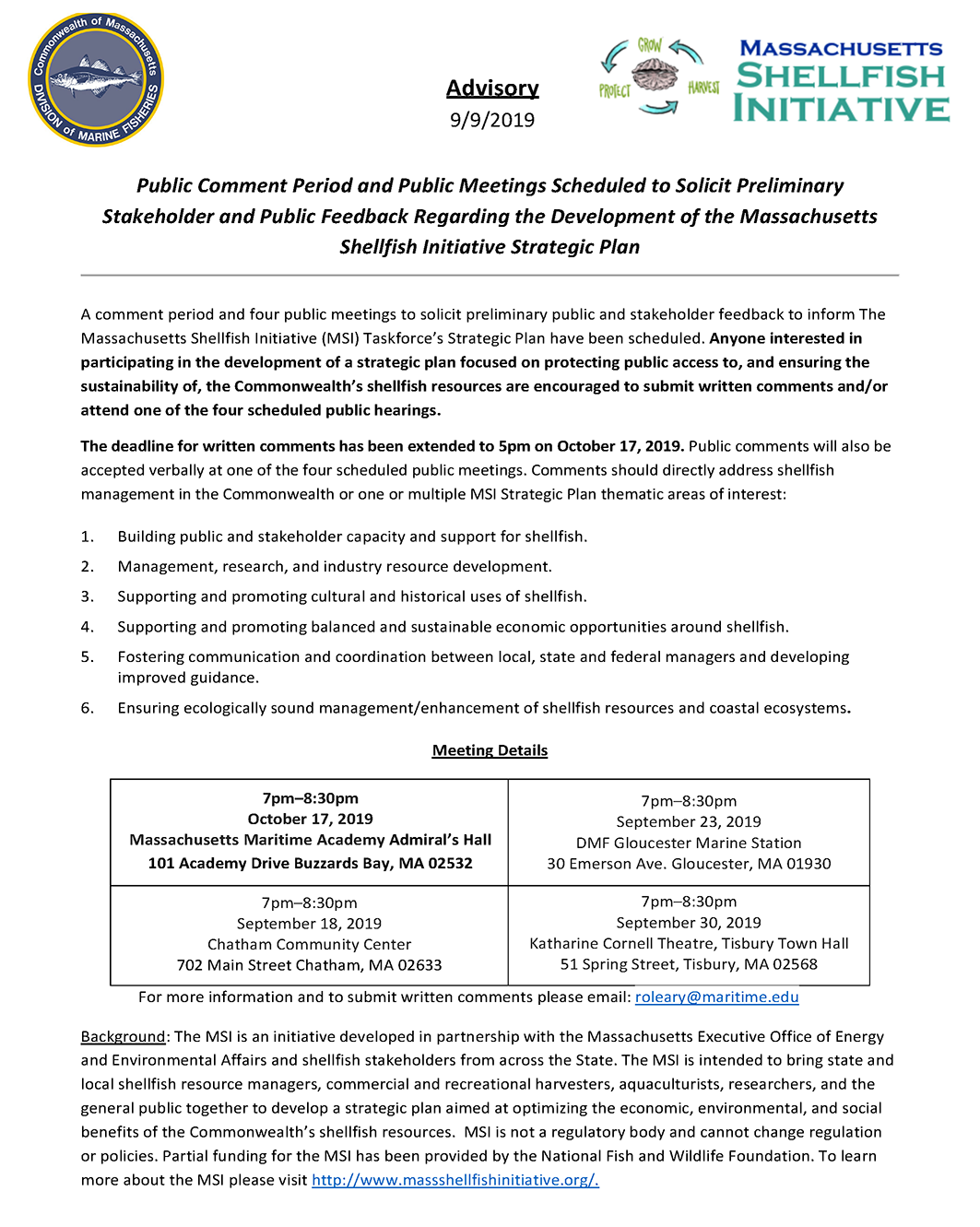 Massachusetts Shellfish Initiative Meeting Advisory 9/9/19