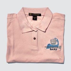 BARS logo women's pink polo shirt
